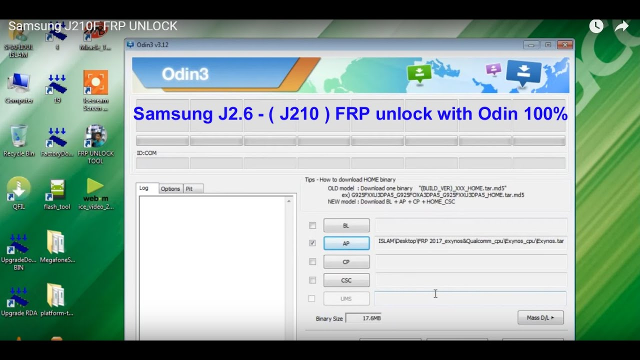 Samsung J2.6 – ( J210 ) FRP unlock with Odin 1000000000%%