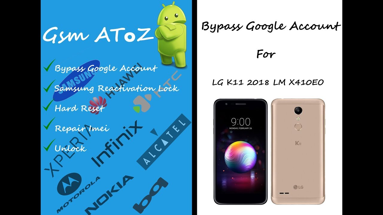 Bypass google account LG K11 2018 LM X410EO and LM-X410.FN Bypass Gmail Account
